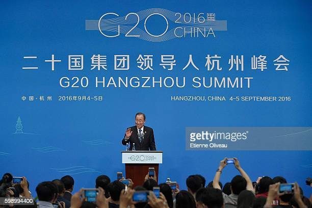 SecretaryGeneral Ban Kimoon holds a press conference at the Media Center during G20 Hangzhou Summit on September 4 2016 in Hangzhou China