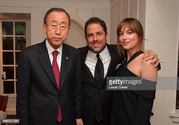 UN SecretaryGeneral Ban Kimoon host Brett Ratner and actress Dakota Johnson attend the special event for UN SecretaryGeneral Ban Kimoon hosted by...