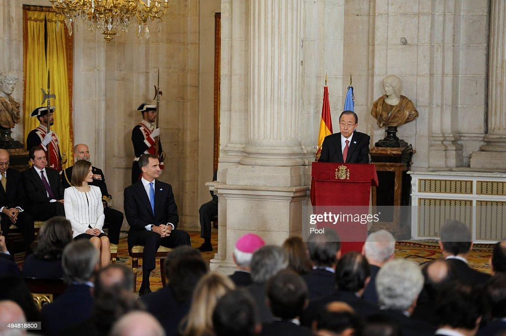 UN Secretary-General Ban Ki-moon (R), King Felipe VI of Spain (C) and Queen Letizia of Spain (L) attend the 70th Anniversary of United Nations ceremony at the Royal Palace on October 29, 2015 in Madrid, Spain.