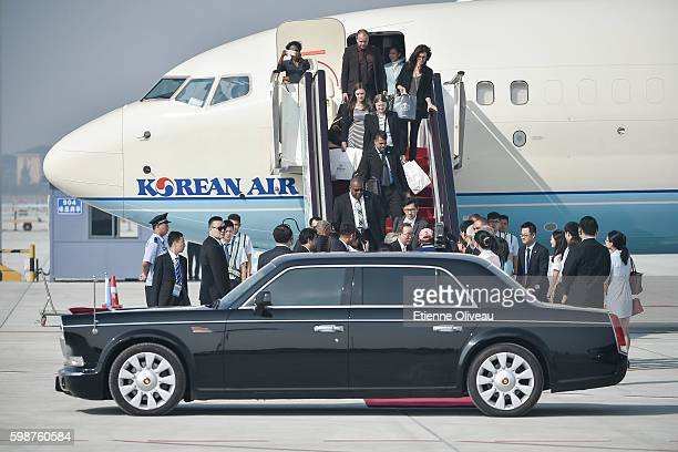 SecretaryGeneral Ban Kimoon leads the UN delegation as it arrives in Hangzhou to attend to G20 Hangzhou Summit on September 3 2016 in Hangzhou China