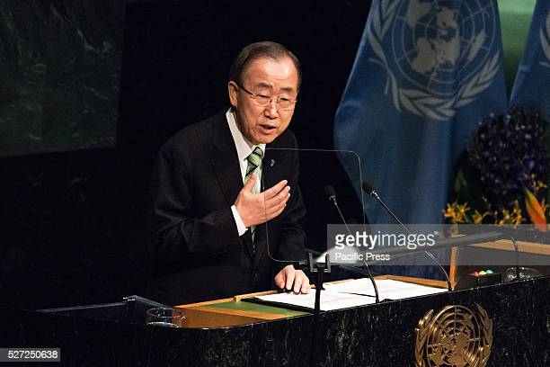 SecretaryGeneral Ban Kimoon offers his opening remarks Leaders from around the world gathered in General Assembly Hall at UN Headquarters in New York...