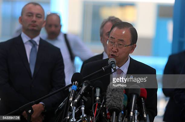 UN SecretaryGeneral Ban Kimoon speaks during a press conference at a United Nations school in Gaza City on June 28 2016 UN chief Ban Kimoon the...