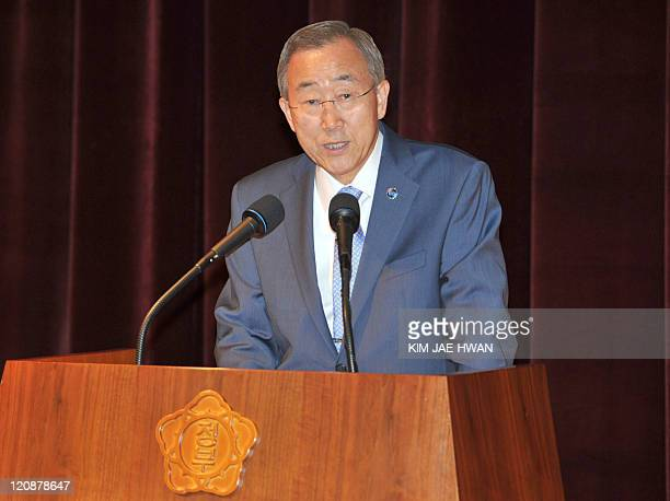 UN secretarygeneral Ban KiMoon speaks during the a meeting with South Korea Foreign Ministry officials in Seoul on August 12 2011 Ban is on a sixday...