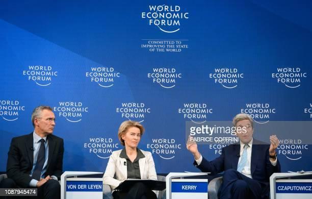 NATO secretarygeneral Jens Stoltenberg Germany Defense Minister Ursula von der Leyen and former US State secretary John Kerry attend a session during...