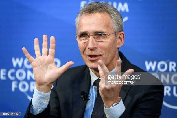 Secretary-general Jens Stoltenberg gestures as he attends a session during the World Economic Forum annual meeting, on January 24, 2019 in Davos,...