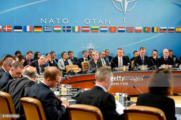 SecretaryGeneral Jens Stoltenberg speaks during a meeting on the second day of the Defence ministers Council meeting at Nato headquarters in Brussels...