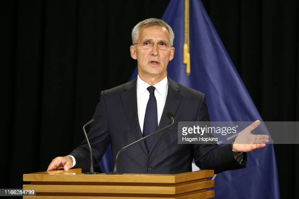 SecretaryGeneral Jens Stoltenberg speaks to media during a press conference at Parliament on August 06 2019 in Wellington New Zealand Jens...