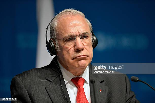 SecretaryGeneral Jose Angel Gurria speaks during a meeting with OECD experts in order to discuss Greece's reforms on March 12 2015 in Paris France...