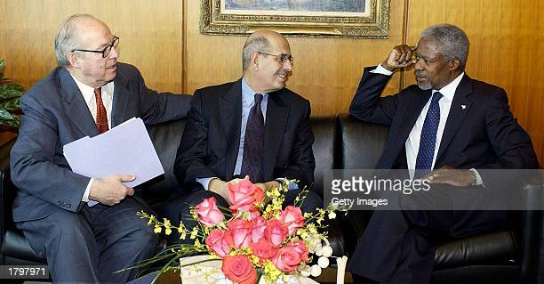 Secretary-General Koffi Anan talks to chief weapons inspectors Hans Blix and Mohammed Elbaradei, director-general of the International Atomic Energy...