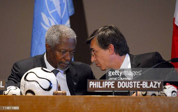 UN SecretaryGeneral Kofi Annan and HE Philippe DousteBlazy Minister of Foreign Affairs for France at the UNITAID press conference at the United...