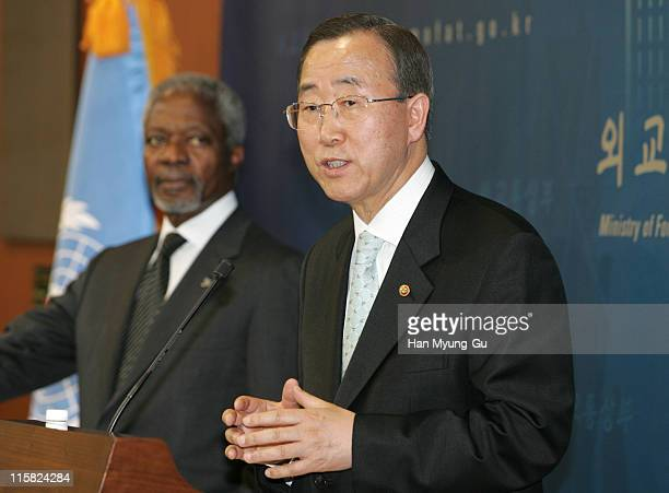 Secretary-General Kofi Annan and South Korean Foreign Minister Ban Ki-moon speak during a joint press conference at the Ministry of Foreign Affairs...
