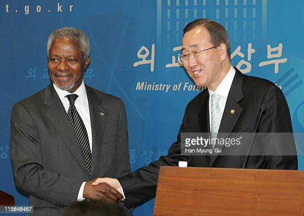 UN SecretaryGeneral Kofi Annan and South Korean Foreign Minister Ban Kimoon shake hands after a joint press conference at the Ministry of Foreign...