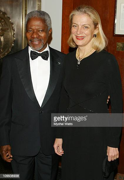 UN SecretaryGeneral Kofi Annan and wife during The Citizens Committee For New York City Presents The New Yorker For New York Awards at Waldorf...