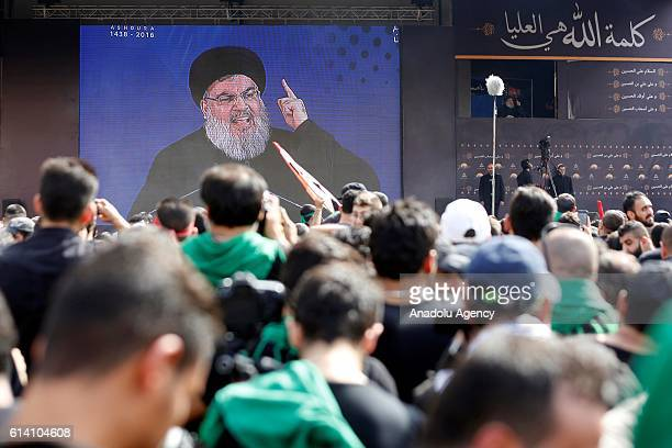 Secretary-General of Hezbollah, Hassan Nasrallah delivers a speech during the mourning procession marking the day of Ashura in Beirut's Dahieh...