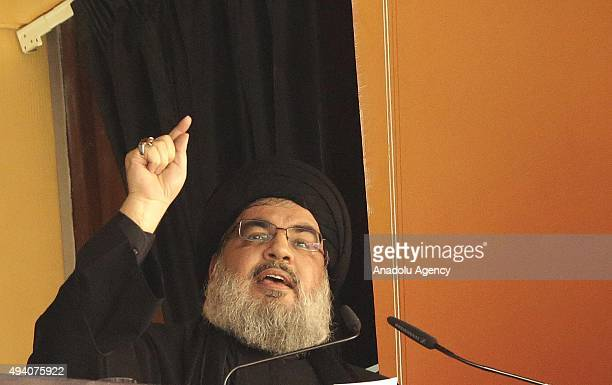 Secretary-General of Hezbollah, Hassan Nasrallah gives a speech during a Ashura Day ceremony in Beirut, Lebanon on October 24, 2015. Ashura day, the...