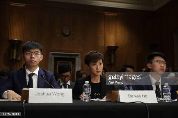 "Secretary-General of Hong Kong's Demosisto party and leader of the ""Umbrella Movement"" Joshua Wong, pro-democracy activist and Cantopop singer Denise..."