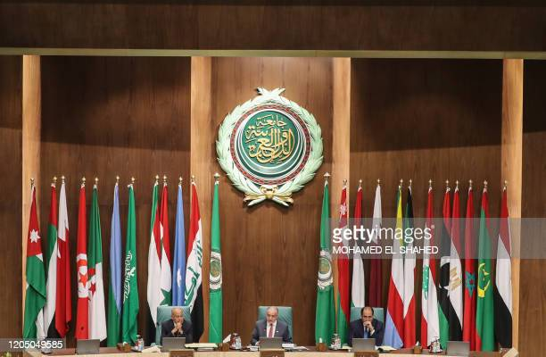SecretaryGeneral of the Arab League Ahmed Aboul Ghait Iraqi Foreign Minister Mohammed Ali alHakim and Assistant SecretaryGeneral Ambassador Hossam...