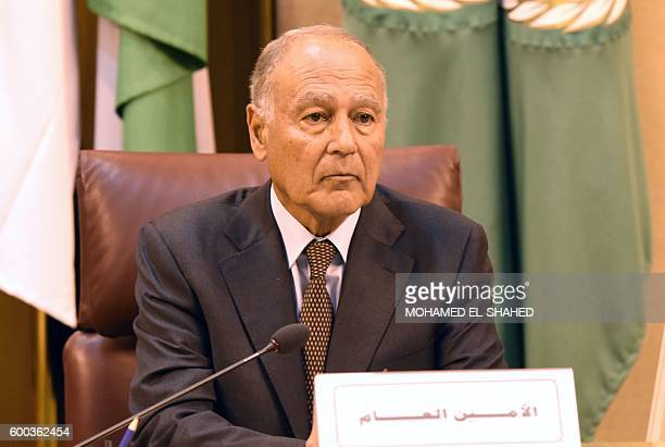 SecretaryGeneral of the Arab League Ahmed Abul Gheit is seen during the 146th annual meeting at the Arab League headquarters in Cairo on September 8...