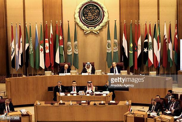 SecretaryGeneral of the Arab League Nabil Elaraby and Bahrain's Foreign Minister Sheikh Khalid bin Ahmed Al Khalifa attend Arab foreign ministers...