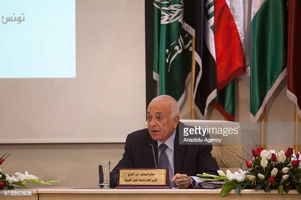 SecretaryGeneral of the Arab League Nabil Elaraby speaks during Arab Interior Ministers Council's 33rd meeting organized under the patronage of...