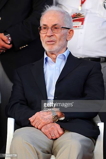 Secretary-General of the International Organization of the Muslim Brotherhood Ibrahim Munir sits as he takes part in a demonstration supporting...