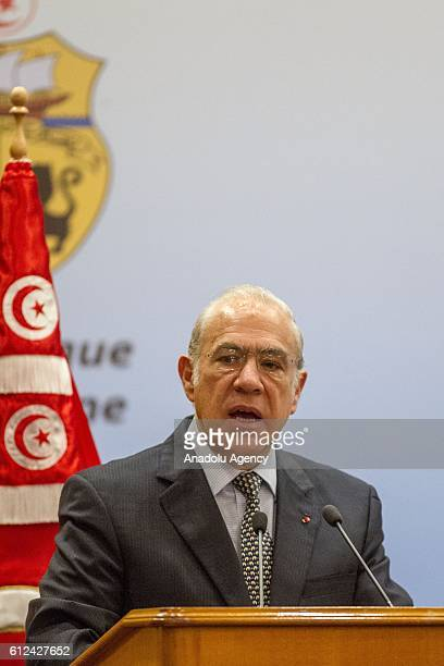 SecretaryGeneral of the Organisation for Economic Cooperation and Development Angel Gurria delivers a speech during the Better policies for inclusive...