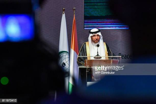 Secretary-General of the Organisation of Islamic Cooperation , Yousef bin Ahmad al-Othaimeen delivers a speech during the opening of the 44th meeting...