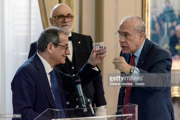 Secretary-General of the Organization for Economic Cooperation and Development Angel Gurria and Italian Finance Economy Minister Giovanni Tria at the...