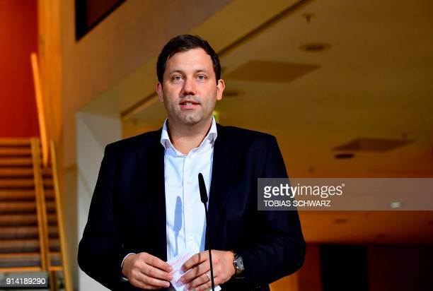 SecretaryGeneral of the Social Democratic Party Lars Klingbeil gives a statement at the SPD headquarters on February 4 2018 in Berlin as German...