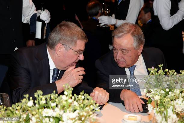 SecretaryGeneral of the United Nations Antonio Guterres and IOC President Thomas Bach attend the IOC President's Dinner ahead of the PyeongChang 2018...