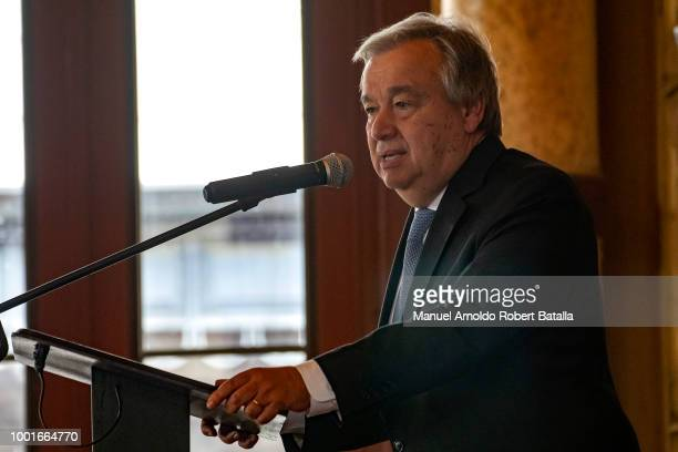 SecretaryGeneral of the United Nations Antonio Guterres and InterAmerican Court of Human Rights President Eduardo Ferrer look on during the session...