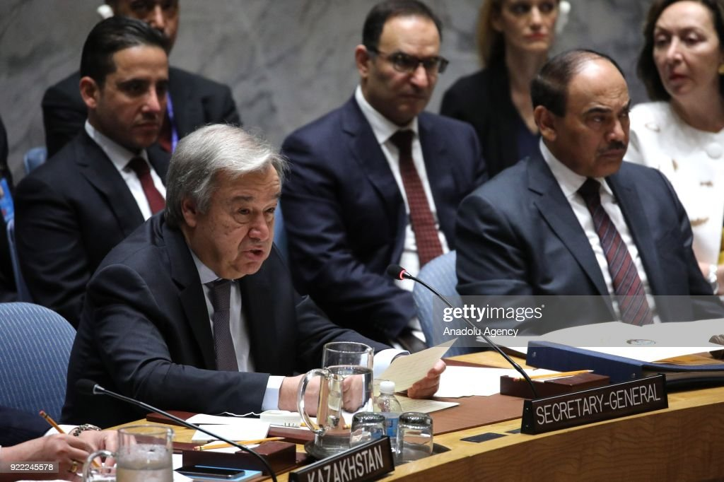 Secretary-General of the United Nations Antonio Guterres (L) makes a speech during the United Nations Security Council meeting in New York, United States on February 21, 2018.