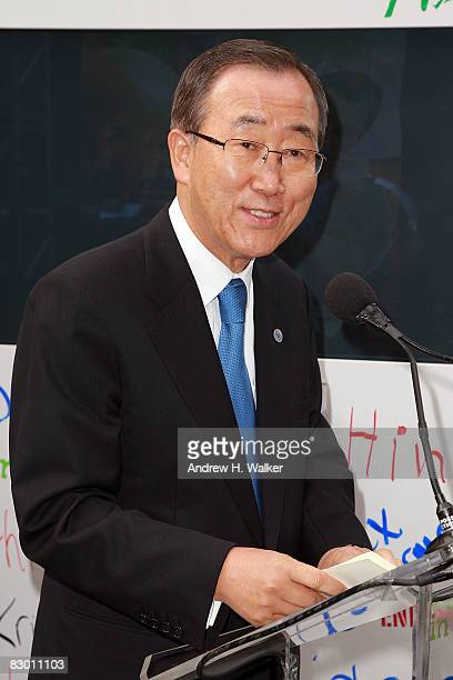 SecretaryGeneral of the United Nations Ban Kimoon attends the launch of the In My Name global campaign at Dag Hammarskjold Plaza on September 25 2008...