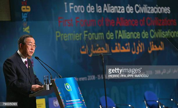 SecretaryGeneral of the United Nations Ban KiMoon delivers a speech during the Opening Plenary session of the Alliance of Civilizations First Forum...