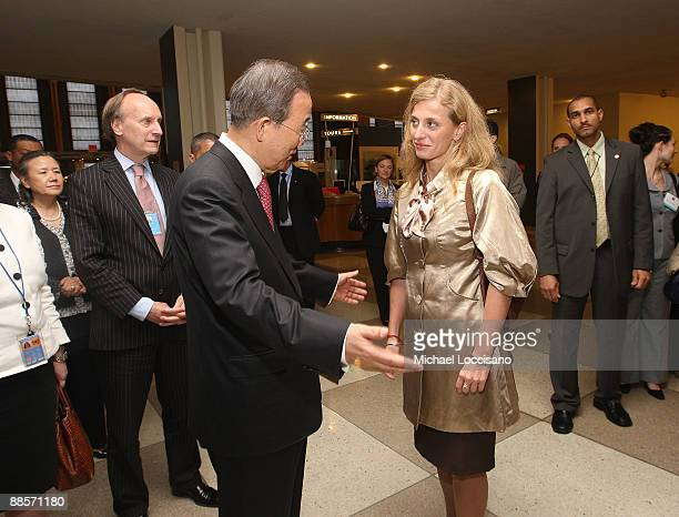 Secretary-General of the United Nations Ban Ki-moon , I.P.I. VP and Director of External Relations Warren Hoge , and Film Subject Carolina Larriera...