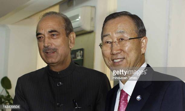 SecretaryGeneral of the United Nations Ban Kimoon meets with Union Health and Family Welfare Minister Ghulam Nabi Azad on April 26 2012 in New Delhi...