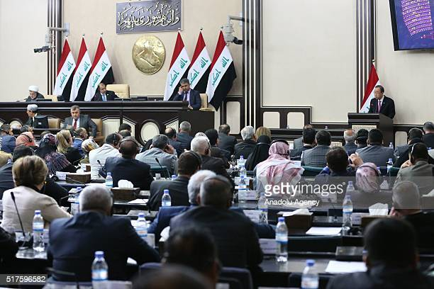 SecretaryGeneral of the United Nations Ban Kimoon speaks at the Council of Representatives of Iraq in Baghdad Iraq on March 26 2016