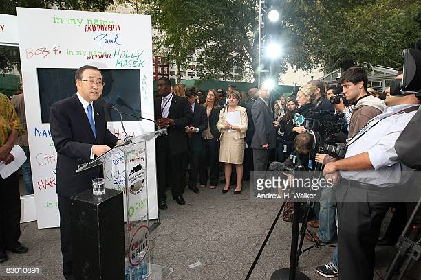 SecretaryGeneral of the United Nations Ban Kimoon speaks at the launch of the In My Name global campaign at Dag Hammarskjold Plaza on September 25...
