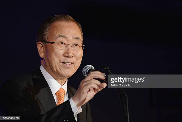 "Secretary-General of the United Nations Ban Ki-moon speaks at the ""Setting The Stage - 2015 And Beyond"" global all-star summer concert at the United..."