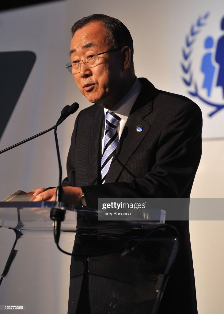 Secretary-General of the United Nations Ban Ki-moon speaks onstage at the United Nations Every Woman Every Child Dinner 2012 on September 25, 2012 in New York, United States.