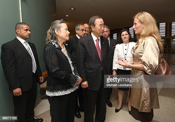 Secretary-General of the United Nations Ban Ki-moon , wife Yoo Soon-taek and Film Subject Carolina Larriera attend the HBO documentary screening of...