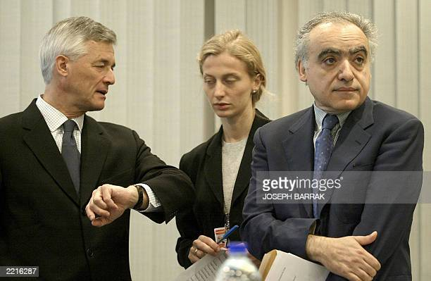 UN SecretaryGeneral Special Representative to Iraq Sergio Viera de Mello and his senior political advisor Ghassan Salemeh wait for the start of a...