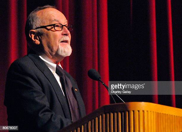 Secretary-Treasurer and FACF board member Gil Cates speaks onstage during the 12th annual City of Lights, City of Angels French Film Festival held at...