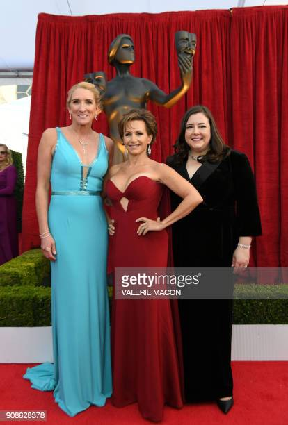 SAG_AFTRA SecretaryTreasurer Jane Austin president Gabrielle Carteris and EVP Rebecca Damon arrives for the 24th Annual Screen Actors Guild Awards at...
