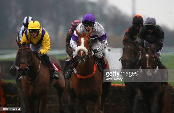 Secrete Stream ridden by Aiden Blakemore on their way to victory in The Watch Racing Uk On Bt Tv Handicap Hurdle Race at Haydock Racecourse on...