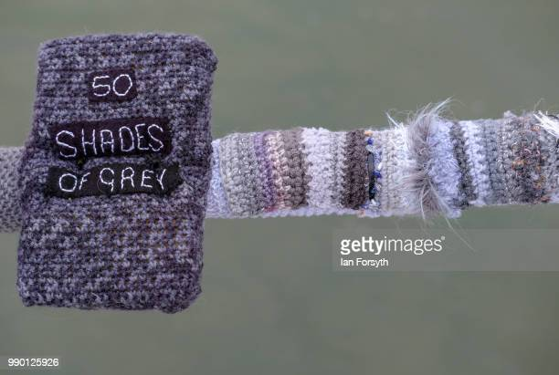 A secretive group of knitters have left their latest display of knitting celebrating Books attached to railings on the Victorian pier on June 30 2018...