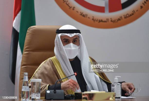 Secretray General of the Gulf Cooperation Council Nayef bin Falah al-Hajraf holds a press conferece at the end of the GCC's 41st summit, in the city...