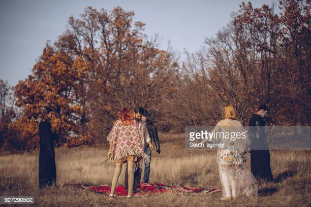 sect ceremony in nature - cult stock pictures, royalty-free photos & images