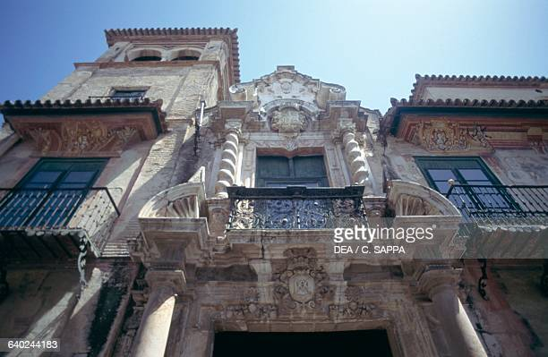 Section above the entrance to Penaflor palace, 1700-1775, Ecija, Andalusia. Spain, 18th century.