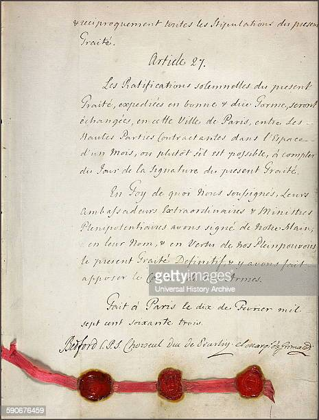 Section from the Treaty of Paris This was signed by Great Britain Spain France and Portugal after Britain's victory during the Seven Years' War This...